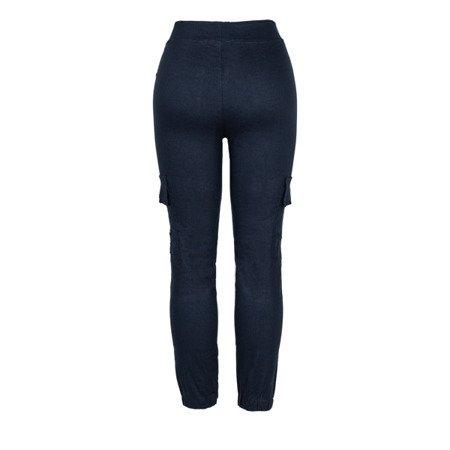 Granatowe spodnie cargo damskie - Spodnie