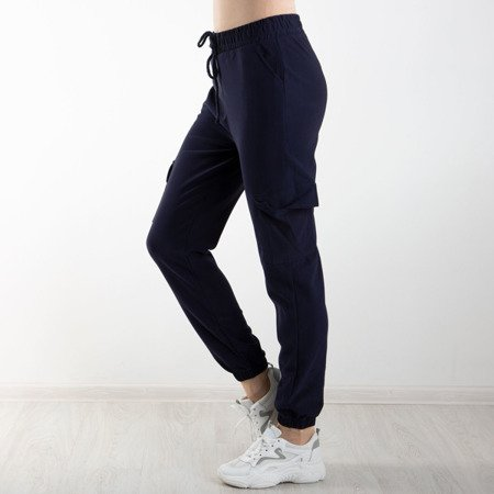 Granatowe spodnie cargo z kieszeniami - Spodnie