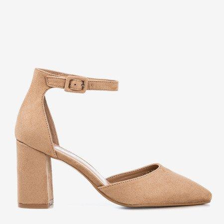 Jasnobrązowe sandały damskie na wyższym słupku Raviola - Obuwie