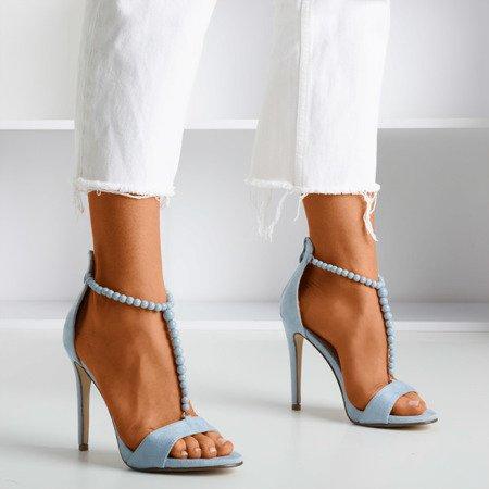 Jasnoniebieskie sandały na wyższej szpilce Nastuli - Obuwie