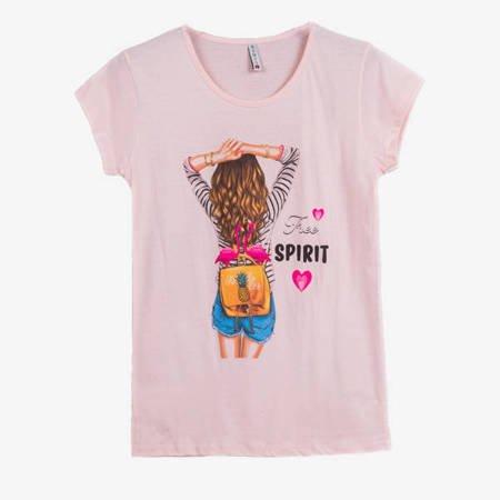 Jasnoróżowy t-shirt damski z kolorowym printem - Odzież