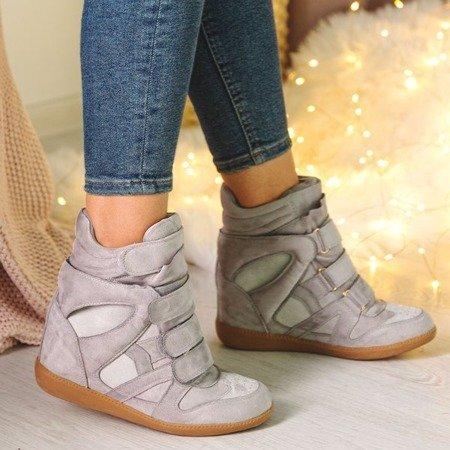 Jasnoszare sneakersy na koturnie Barbra - Obuwie