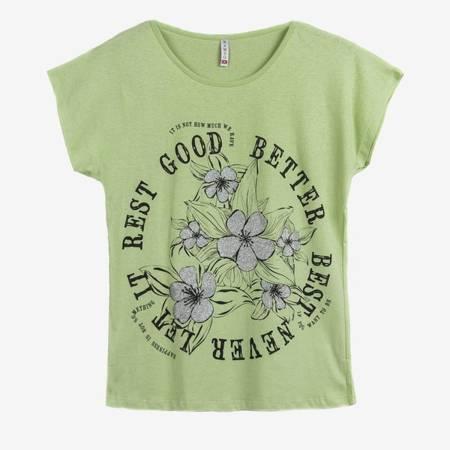 Jasnozielony t-shirt damski z nadrukiem w kwiaty - Odzież