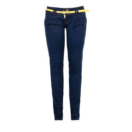 Jeansowe spodnie z zakładkami - Spodnie