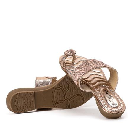 Klapki z ozdobami w kolorze różowego złota Precious - Obuwie