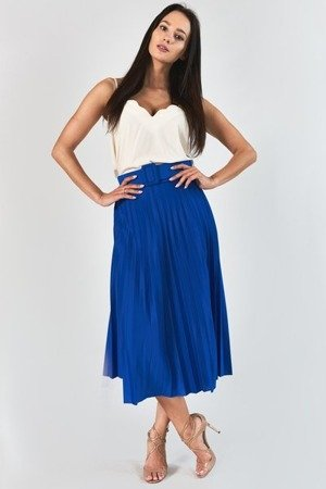 Kobaltowa plisowana spódnica midi z paskem - Odzież
