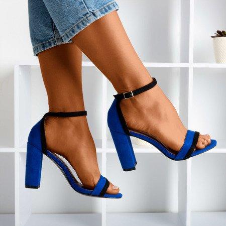 Kobaltowe damskie sandały na wyższym słupku Johanea - Obuwie