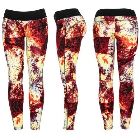 Kolorowe legginsy z przewagą bordowego - Spodnie