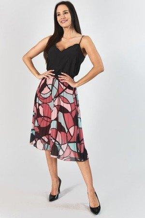 Koralowa plisowana spódnica z geometrycznym printem - Odzież
