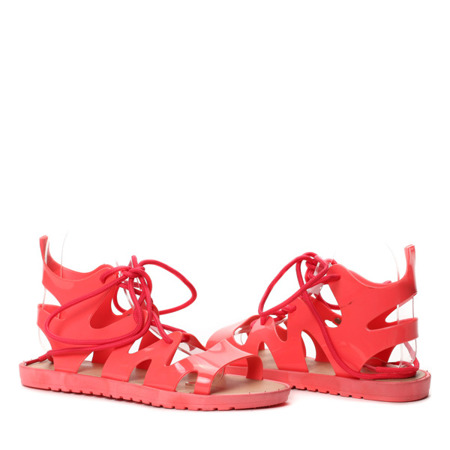 Koralowe sandały gladiatorki Shine Sugar - Obuwie