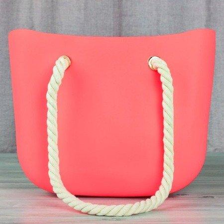 Neonowa różowa torba gumowa z uchwytami - Torebki