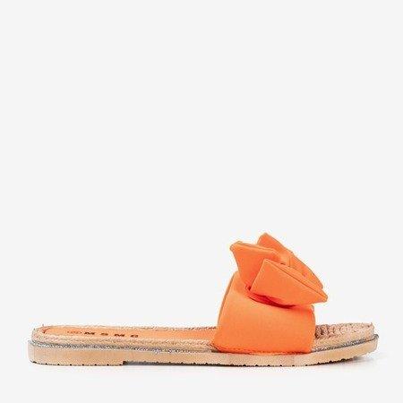 Neonowe pomarańczowe klapki z kokardką Masmalla - Obuwie
