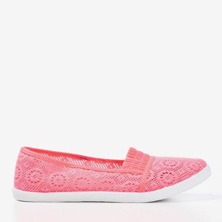 Neonowe różowe baleriny slip - on koronkowe Noremies - Obuwie
