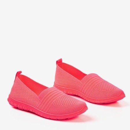 Neonowe różowe tenisówki slip-on damskie Colorful - Obuwie