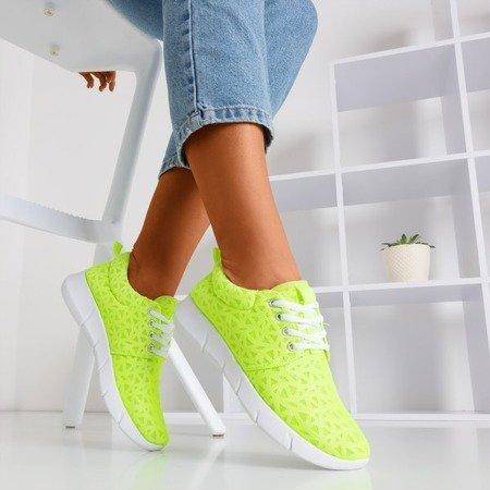 Neonowe zielone sportowe buty damskie we wzorki Troye - Obuwie