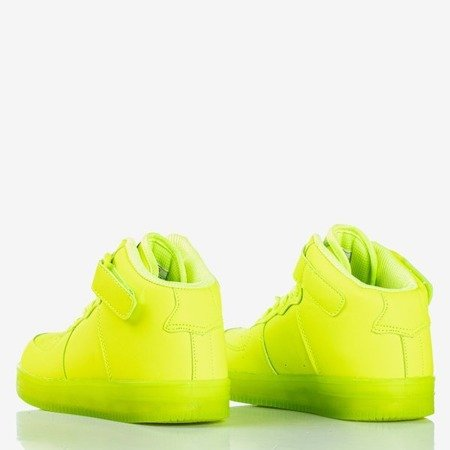 Neonowe zielone sportowe buty dziecięce z wysoką cholewką Cooper - Obuwie
