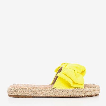 Neonowe żółte klapki z kokardką Playa - Obuwie