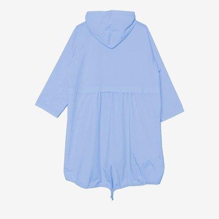 Niebieska damska kurtka typu parka z kapturem - Odzież