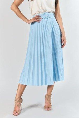Niebieska plisowana spódnica midi z paskem - Odzież