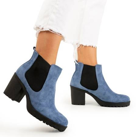 Niebieskie damskie botki na słupku Umberto - Obuwie