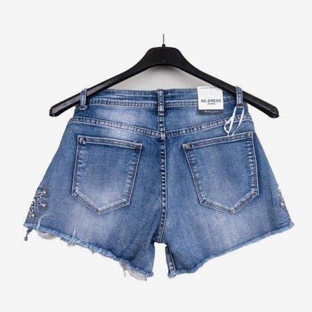 Niebieskie jeansowe szorty z wysokim stanem - Odzież
