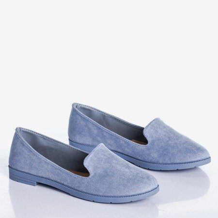 Niebieskie mokasyny damskie eko-zamsz Mossolia - Obuwie