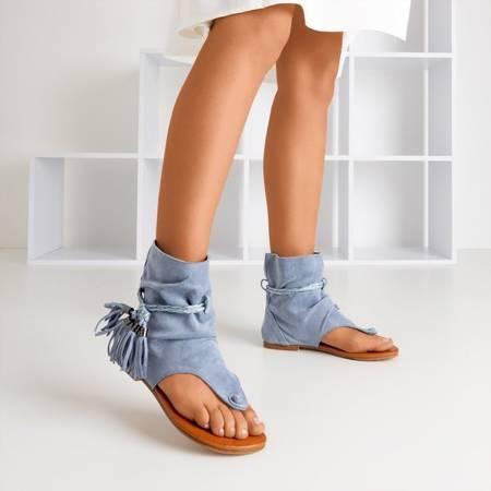Niebieskie sandały japonki z cholewką Semara - Obuwie