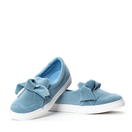 Niebieskie tenisówki z kokardką - Obuwie