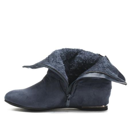 Niebieskie zamszowe botki na koturnie - Obuwie