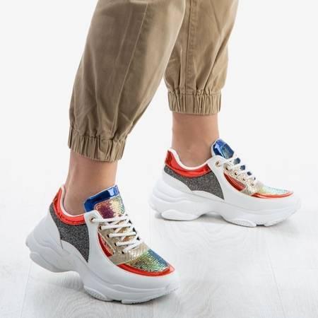 OUTLET Białe buty sportowe z kolorowymi wstawkami Outta My Head - Obuwie