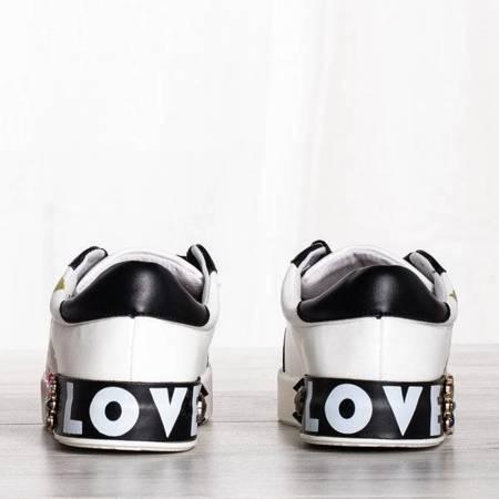 OUTLET Białe buty sportowe z ozdobami Keisha - Obuwie