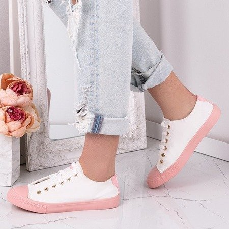 OUTLET Biało-różowe trampki Pink Power - Obuwie