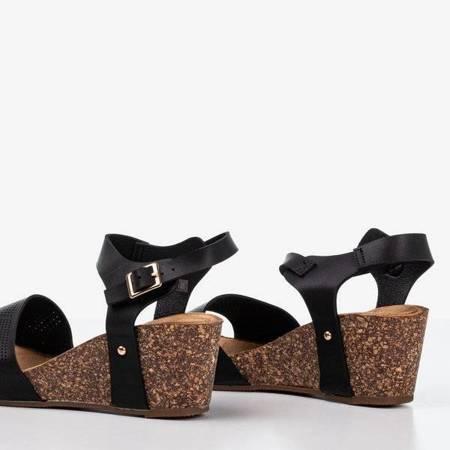 OUTLET Czarne sandały damskie ażurowe Elemia - Obuwie