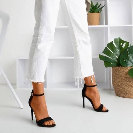 OUTLET Czarne sandały damskie na wysokiej szpilce Gold Rush - Obuwie