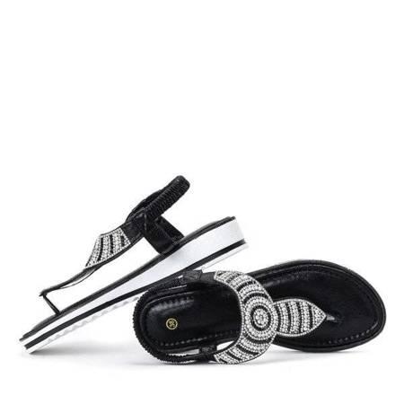 OUTLET Czarne sandały japonki na niskiej koturnie Alisia - Obuwie