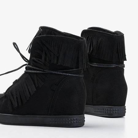 OUTLET Czarne sneakersy na krytym koturnie z frędzlami Murine - Obuwie