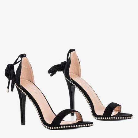 OUTLET Czarne wiązane sandały na wyższej szpilce Taya - Obuwie