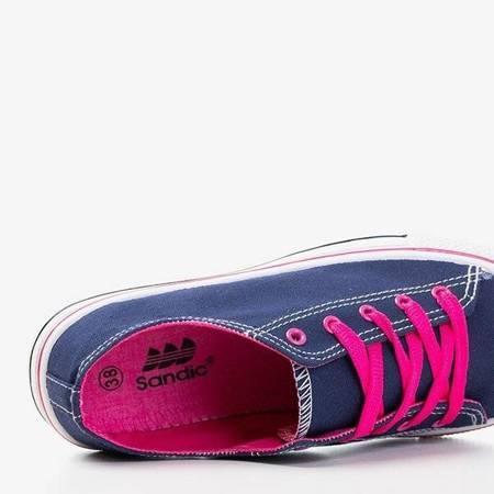 OUTLET Granatowe trampki z różowymi sznurówkami Fips - Obuwie