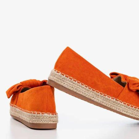 Pomarańczowe espadryle na platformie z kokardką Giti - Obuwie