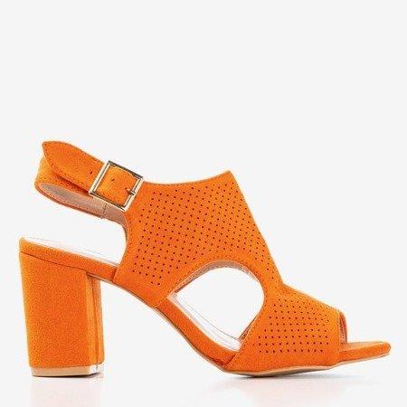 Pomarańczowe sandały damskie na wyższym słupku z cholewką Ilonepa - Obuwie