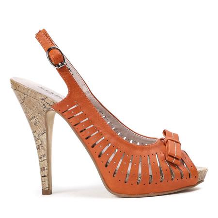 Pomarańczowe sandały na szpilce Teresa - Obuwie