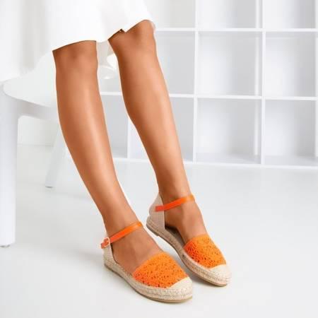 Pomarańczowe sandały typu espadryle z ażurową cholewką Asia - Obuwie