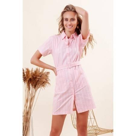 Różowa damska sukienka a'la koszula w paski - Odzież