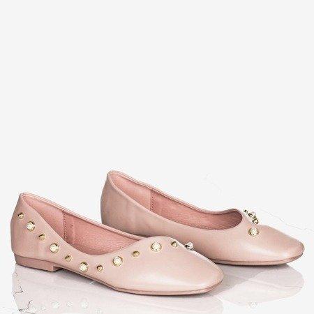 Różowe baleriny damskie z perełkami Lovilla - Obuwie