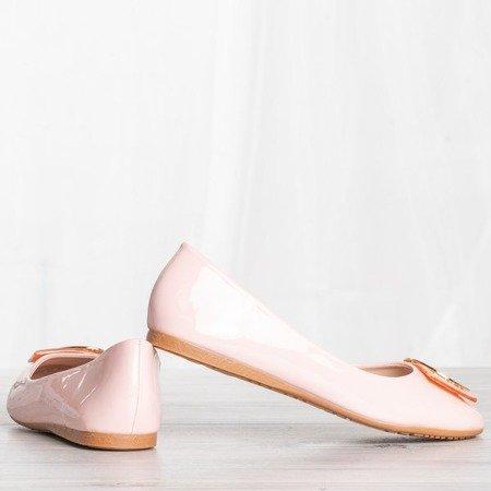 Różowe baleriny z ozdobą Mirabella - Obuwie