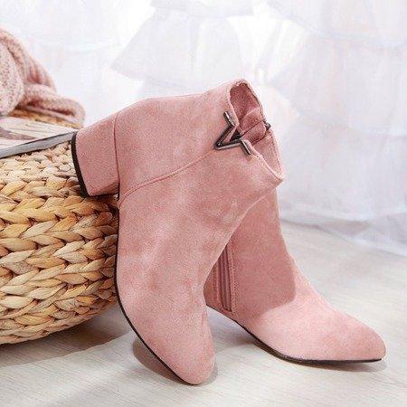 Różowe botki na niskim słupku Roni - Obuwie