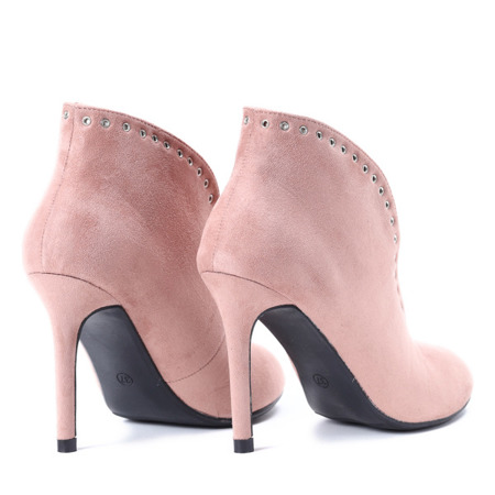 Różowe botki na szpilce Camila - Obuwie