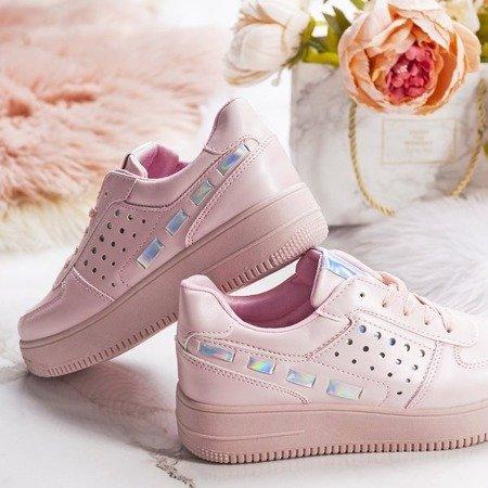 Różowe buty sportowe na grubej podeszwie Rosali - Obuwie