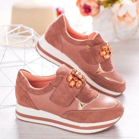 Różowe buty sportowe na platformie Celassema - Obuwie
