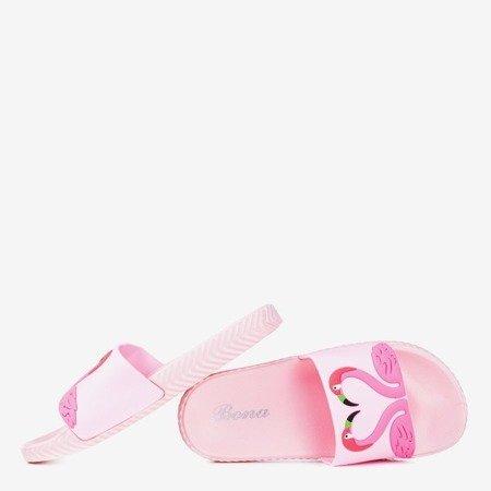 Różowe damskie klapki z flamingiem Flamo - Obuwie